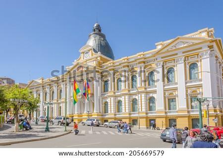 LA PAZ, BOLIVIA, MAY 8, 2014 - Government Palace of Bolivia, Plaza Murillo  - stock photo