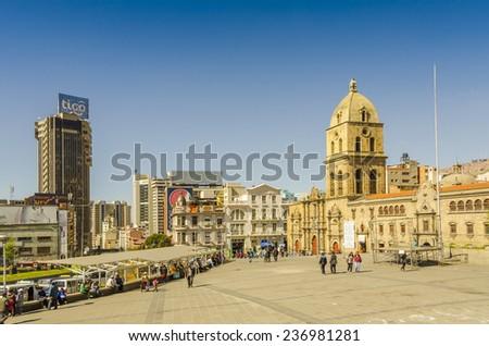 LA PAZ, BOLIVIA, MAY 8, 2014: Plaza San Francisco and Basilica San Francisco - stock photo