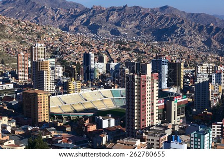 LA PAZ, BOLIVIA - OCTOBER 14, 2014: Sports stadium Estadio Hernando Siles in the district of Miraflores, one of the highest professional stadiums in the world, on October 14, 2014 in La Paz, Bolivia - stock photo
