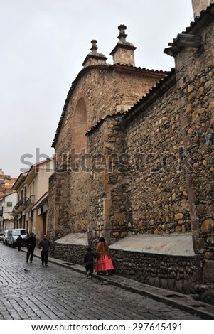 LA PAZ, BOLIVIA - SEPTEMBER 5, 2010: Cathedral in La Paz. The actual capital of Bolivia, where most of the state institutions and the residence of the President of the country. - stock photo
