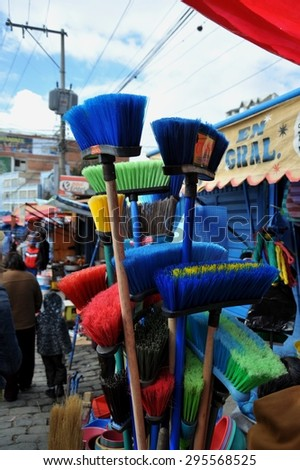 LA PAZ, BOLIVIA - SEPTEMBER 5, 2010:Street market in La Paz. The actual capital of Bolivia, where most of the state institutions and the residence of the President of the country. - stock photo