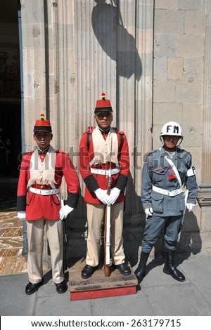 LA PAZ, BOLIVIA - SEPTEMBER 12, 2010:The actual capital of Bolivia, where most of the state institutions and the residence of the President of the country.The honor guard at the Presidential Palace.