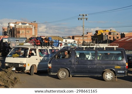 LA PAZ, BOLIVIA - SEPTEMBER 4, 2010: Traffic jams on the streets of La Paz. The actual capital of Bolivia, where most of the state institutions and the residence of the President of the country. - stock photo