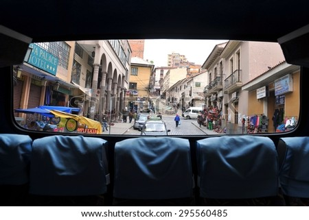 LA PAZ, BOLIVIA - SEPTEMBER 5, 2010: View of La Paz from the bus. The actual capital of Bolivia, where most of the state institutions and the residence of the President of the country. - stock photo