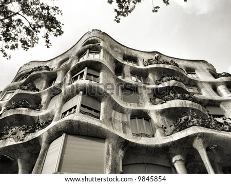 La Pedrera - famous Antonio Gaudi's building in Barcelona, Spain - stock photo
