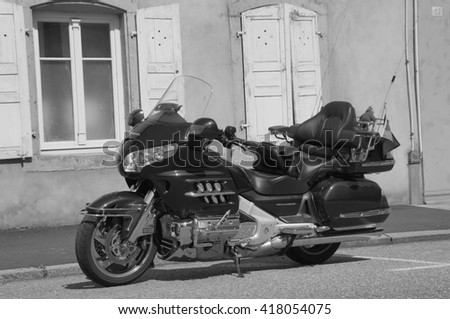 La Petite-Pierre, Alsace, France - May 7, 2016: Honda Goldwing parked on the side of the street in the city of La Petite-Pierre.