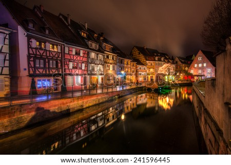 La Petite Venise (Little Venice) in Colmar, Alsace, France on a cold December night. - stock photo