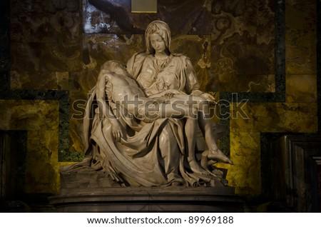 La Pieta by Michelangelo in Vatican Museum - stock photo