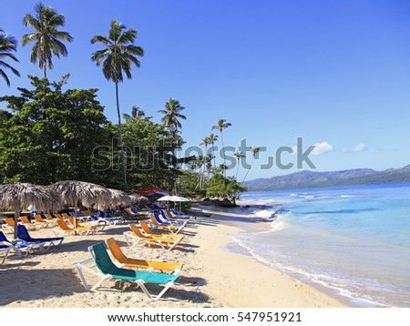 La Playta Tropical Beach near Las Galeras village in samana area, Dominican Republic