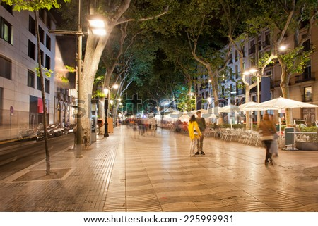 La Rambla boulevard at night  in Barcelona, Catalonia, Spain - stock photo