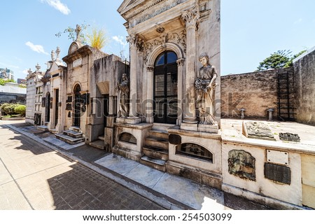 La Recoleta Cemetery  located in the Recoleta neighbourhood of Buenos Aires, Argentina.  - stock photo