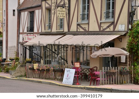 La Roche Guyon, France - august 13 2015 : the picturesque village in summer