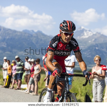 LA ROCHETTE, FRANCE- JUL 16:The cyclist Manuel Quinziato (BMC team) riding on a plain road after the ascension to Col de Manse in the stage 16 of Le Tour de France on July 16 2013 in La Rochette