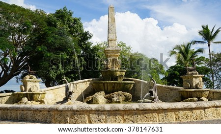 LA ROMANA, DOMINICAN REPUBLIC - NOV 24: Fountain at Altos de Chavon in La Romana, Dominican Republic, as seen on Nov 24, 2015. It is a re-creation of a Mediterranean style European village. - stock photo