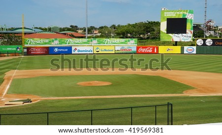 LA ROMANA, DOMINICAN REPUBLIC - NOV 24: Francisco A. Micheli stadium in La Romana, Dominican Republic, as seen on Nov 24, 2015. It is the home of the Dominican professional team, the Toros del Este. - stock photo