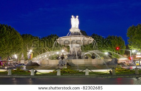 La Rotonde fountain, center of Aix-en-Provence, south of France - stock photo