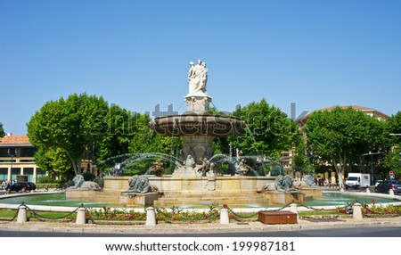 La Rotonde fountain in Aix-en-Provence, France