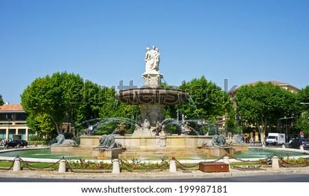 La Rotonde fountain in Aix-en-Provence, France - stock photo