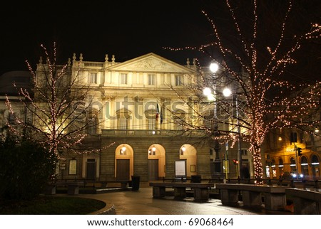 La Scala opera house in night. Milan, Italy. The most famous Italian theatre