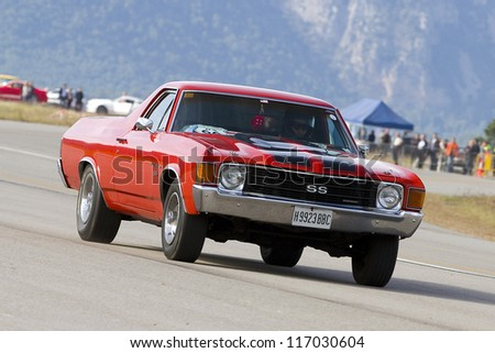 LA SEU D'URGELL, SPAIN - OCTOBER 7: A Chevrolet El Camino of 1972 take part in Road and Track racing weekend organizated by American Car Club, on October 7, 2012, in La Seu d'Urgell, Spain.