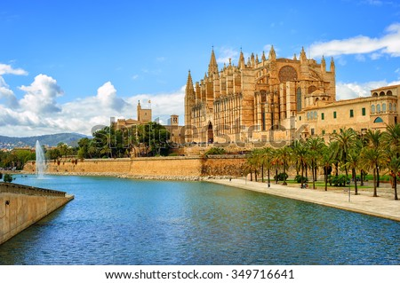La Seu, the gothic medieval cathedral of Palma de Mallorca, Spain - stock photo