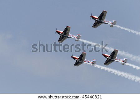 LA SPEZIA, ITALY - JULY 27: Italian flying team in action during an airshow exhibition July 27, 2008 in La Spezia, Italy