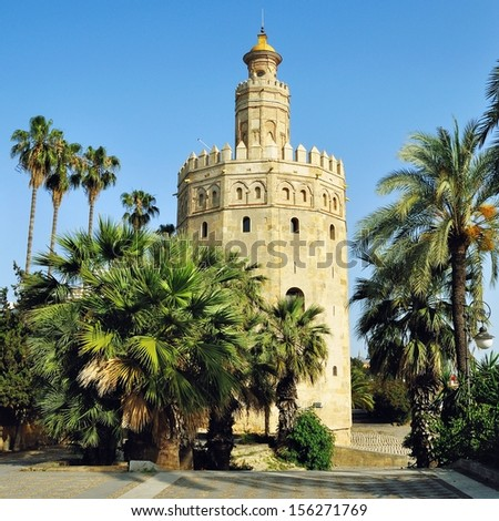 La Torre de Oro (Tower of Gold), was built by the Moors in 13th century. Seville, Andalusia, Spain