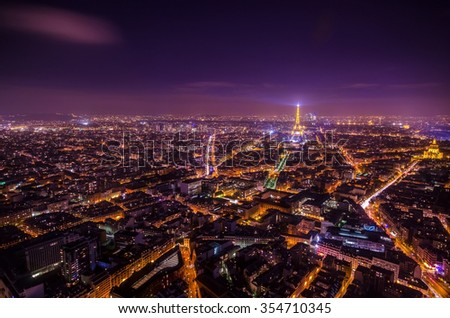 LA TOUR  EIFFEL, PARIS - 7 DECEMBER 2014 - Night scene for Tour Montparnasse in Paris.