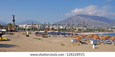 La Victoria statue and beach in Puerto Banus (Marbella), Spain (panoramic picture) - stock photo