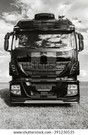 LAAGE / GERMANY - AUGUST 2014: italian iveco truck stands on grass on Air Show in laage / lower saxony / germany at august 2014.