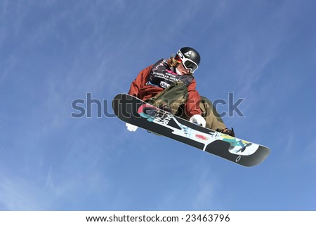 LAAX, SWITZERLAND - JANUARY 16: Kevin Pierce, USA, competing in the halfpipe at the Burton European Open Snowboarding Championships on January 16, 2009 in Laax, Switzerland. - stock photo
