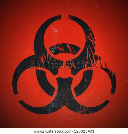 Lab Bio-Hazard Warning Symbol in Black with Red Background - stock photo