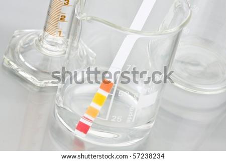 Lab chemistry -empty flasks - stock photo