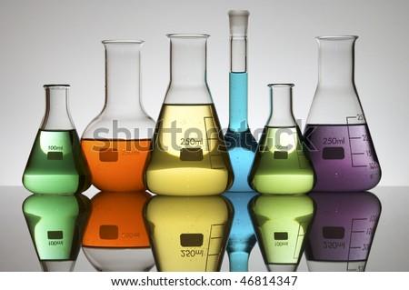 lab equipment with colored liquid - stock photo