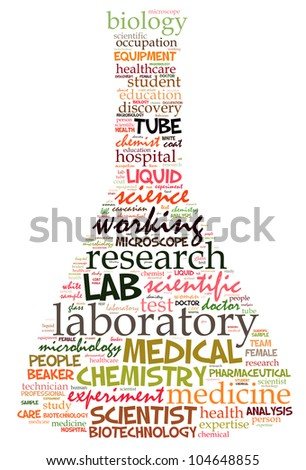Lab info-text graphics composed in flask shape concept (word clouds) - stock photo