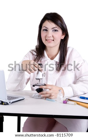Lab tech smiling - stock photo