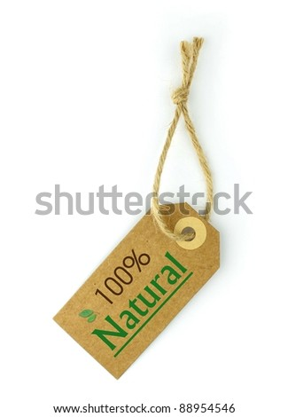 Label and 100% Natural green text and leaf - stock photo