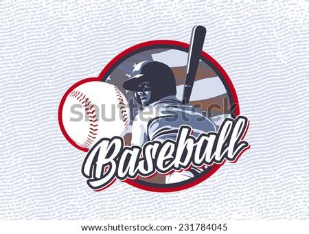 Label baseball player hitting - stock photo