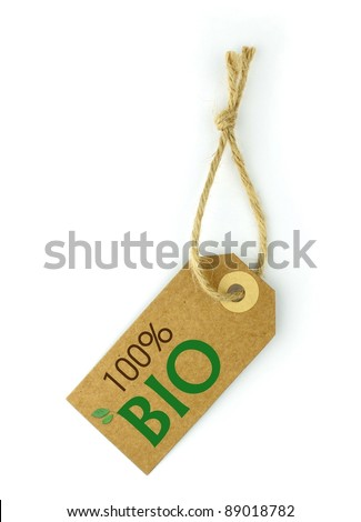 """Label 100% BIO green text and leaf on """" B """" - stock photo"""