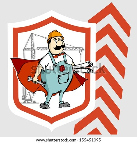 Label Cartoon super builder with a key and drawings for construction. Raster version.The original is also available in my gallery - stock photo