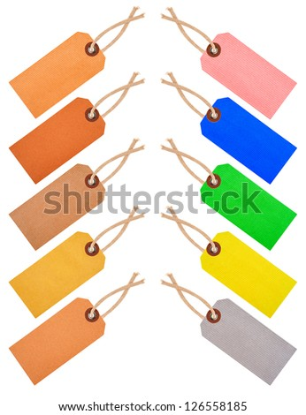label collection isolated on white - stock photo