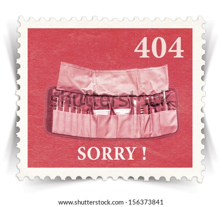Label for 404 error web page stylized as vintage post stamp - landscape view  - stock photo