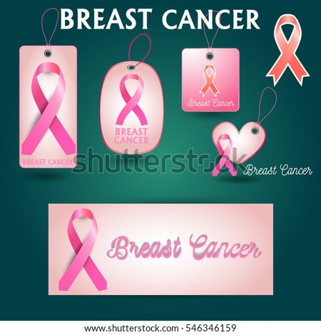 Label hanging tag collection Breast Cancer Awareness Pink Ribbon. World Breast Cancer Day concept. Vector Illustration. Women healthcare concept