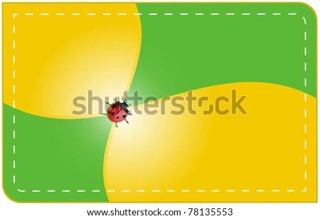 Label is divided into four sections, yellow green with ladybug in the center and stitched around the edges - stock photo