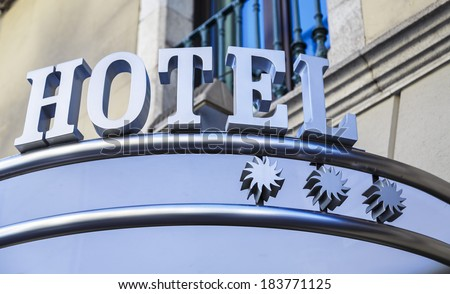 label of a three star hotel - stock photo