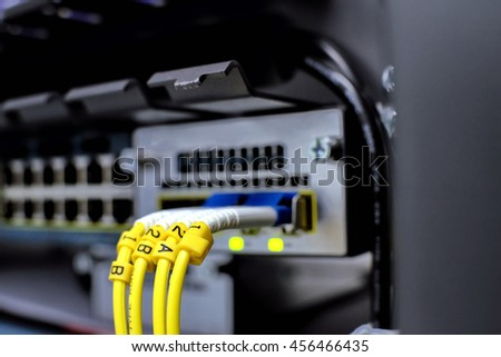 label of fiber optic Network Server . router and servers in a technology data center . selective focus - stock photo