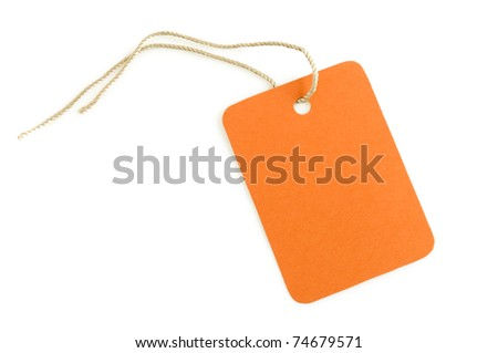 label paper orange color isolated on white
