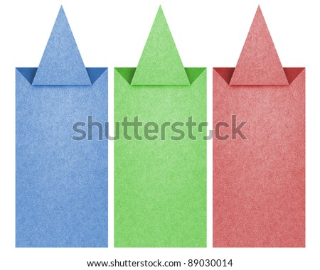 Label recycled paper craft for make note stick on white background. - stock photo