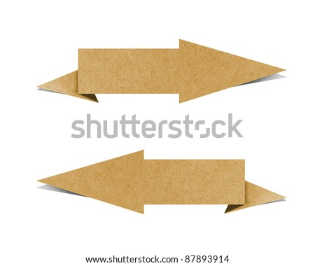Label recycled paper craft on white background. - stock photo
