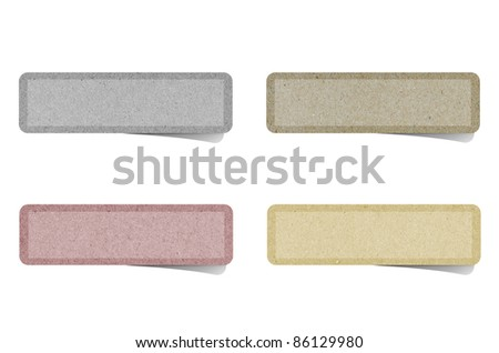 Label recycled paper on white background. - stock photo